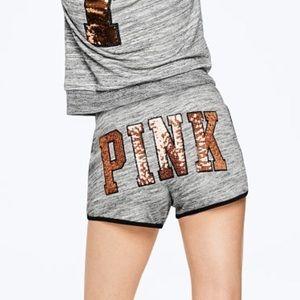NEW 💕 VS PINK Bling gray black gold shorts sequin